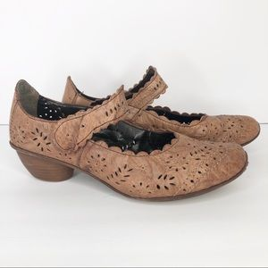 Rieker Women's 7.5 Brown Leather Lace Mary Janes